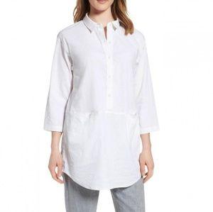Eileen Fisher White Organic Linen Blend Tunic
